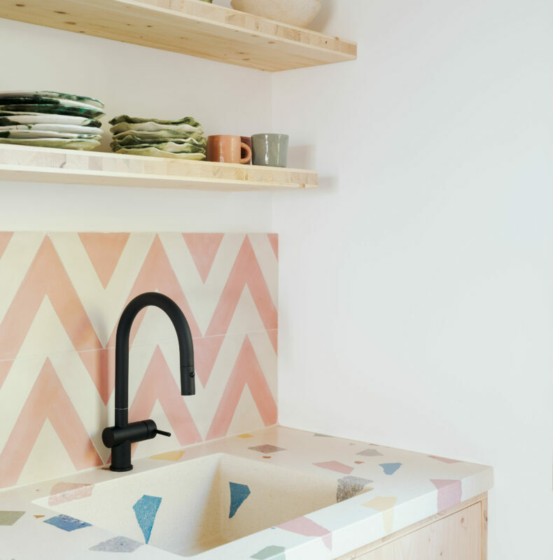 Huguet Terrazzo sink and tops with recycled terrazzo chips