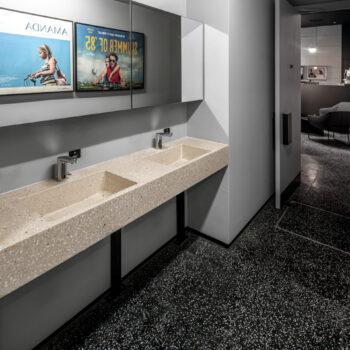 Huguet Customized terrazzo tiles and washbasins